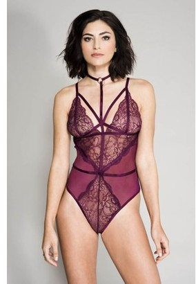 Music Legs Inc. Duplicated High strap neck lace and sheer teddy with adjustable spaghetti straps 80043-BURGUNDY