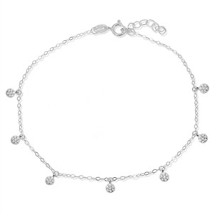 Giani Bernini Cubic Zirconia Pave 7 Mini Disc Drops Ankle Bracelet in Sterling Silver or 18K Gold-Plated Sterling Silver