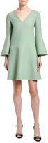 Valentino V-Neck Bell-Sleeve A-Line Dress