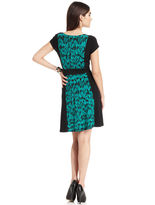 Amy Byer Dress, Short-Sleeve Colorblock Printed A-Line