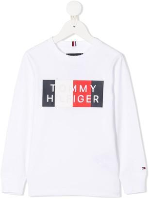 Tommy Hilfiger Junior Logo-Print Crew Neck Sweatshirt