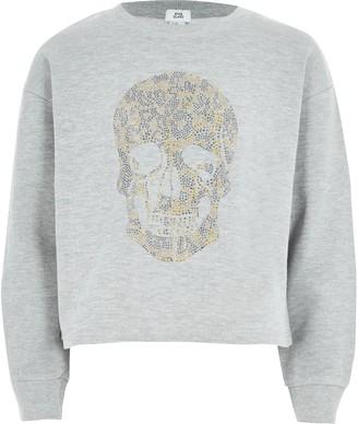 River Island Girls Grey skull studded sweatshirt