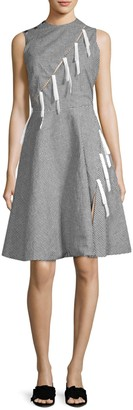 Sandy Liang Marnie Bow Gingham Flare Dress