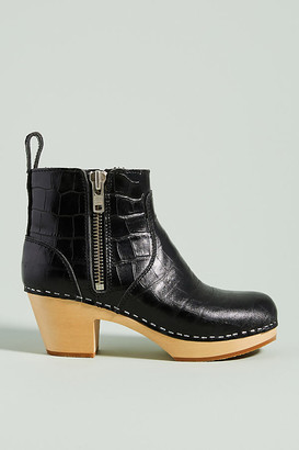 Swedish Hasbeens Embossed Leather Clog Booties By in Black Size 37