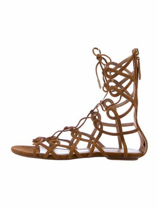 Aquazzura Gladiator Suede Gladiator Sandals Brown