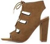Charlotte Russe Bamboo Caged Lace-Up Booties