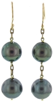 Ten Thousand Things Double Pearl Drop Earrings in Yellow Gold