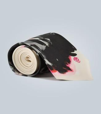 Alexander McQueen Ink Floral silk tie