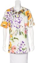 Lela Rose Embellished Floral Print Top