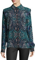 See by Chloe Mosaic-Print Long-Sleeve Blouse, Blue