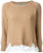 GUILD PRIME crew neck lace insert jumper - women - Cotton/Acrylic - 34