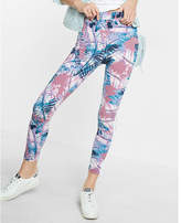 Express High Waisted Tropical Print Side Stripe Cropped Legging