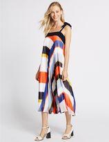 Marks and Spencer Printed Plisse Shift Midi Dress