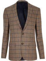 River Island Ecru Checked Skinny Suit Jacket
