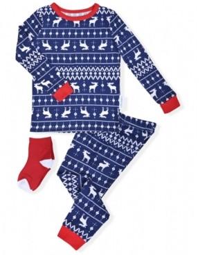 Max & Olivia Toddler Boys 2-Piece Fair Isle Pajama Sock Set