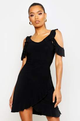 boohoo Cold Shoulder Ruffle Tea Dress