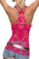 Sidefeel Women Crochet Lace Back Tank Top Clubwear Large