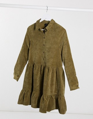 Vero Moda cord smock shirt dress in green