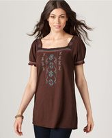 RXB, Short Sleeve Embroidered Squareneck Tunic