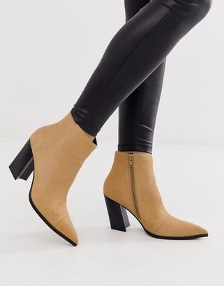 Asos Design DESIGN Elude leather pointed heeled boots in camel-Beige