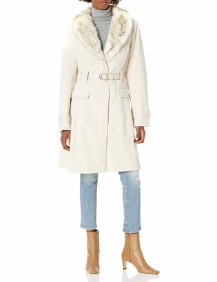 City Chic Women's Apparel Women's Plus Size Longline Structured Coat with Faux Fur Detail