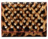 Christian Louboutin Macaron Mini Patent Spikes Wallet, Leopard