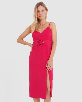 Forcast Kiara Belted Midi Dress