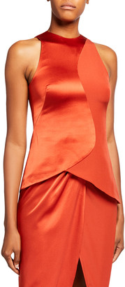 Brandon Maxwell Silk High-Neck Fitted Blouse