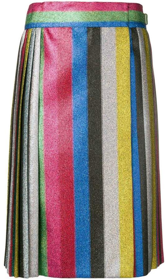 Marco De Vincenzo striped shimmer pleated skirt