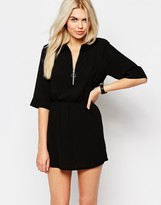 Monki Zip Front Shirt Dress