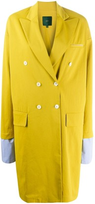 Jejia Contrasting-Cuff Double-Breasted Coat