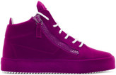 Giuseppe Zanotti Purple Flocked May London High-top Sneakers