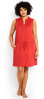 Lands' End Women's Plus Size Sleeveless Polo Cover-up Dress-Coral Orange