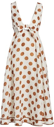 Zimmermann Empire Tie-Front Polka Dot Midi Dress
