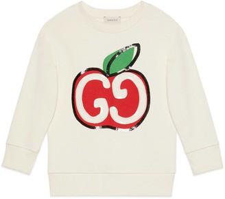 Gucci Children's GG apple print cotton sweatshirt
