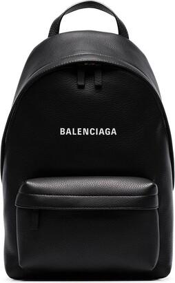 Balenciaga black everyday logo leather backpack