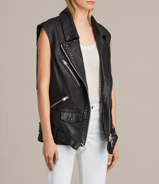 AllSaints Oversized Sleeveless Biker Jacket