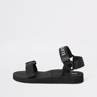River Island Mens Black 'LVII' velcro strap sandals