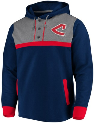 Men's Fanatics Branded Navy/Heathered Gray Cleveland Indians True Classics Button-Up Henley Pullover Hoodie