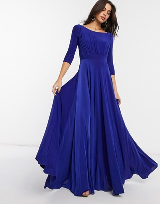 Goddiva long sleeve waistband detail maxi dress in purple