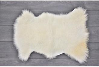 "Burdett Animal Print Handmade 2' x 2'10"" Sheepskin White Indoor / Outdoor Area Rug Millwood Pines"