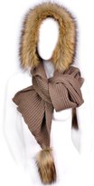 Futrzane Women Hooded Scarf Hat Knitted Wool & Faux Fox Fur Hight Quality Long & Warm