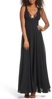 LuLu*s Women's Lace Trim Chiffon Maxi Dress
