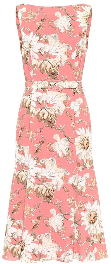 Oscar de la Renta Floral boatneck crepe midi dress