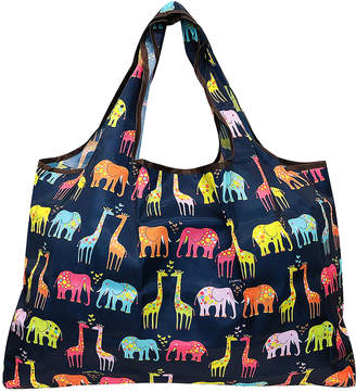 Wrapables Shopping Bags - Pink & Orange Elephants & Giraffes Reusable Shopping Bag