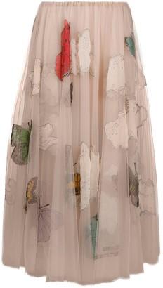 Valentino Butterfly Beaded Tulle Midi Skirt