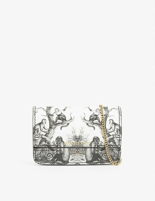 Burberry Jody monkey print leather card holder with chain