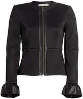 Alice + Olivia Jonie Ruffle Cuff Leather Jacket