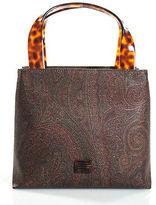 Etro Brown Coated Canvas Abstract Double Handle Structured Tote Handbag