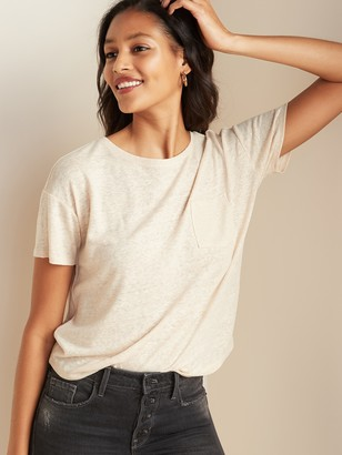 Old Navy Loose-Fit Linen-Blend Pocket Easy Tee for Women